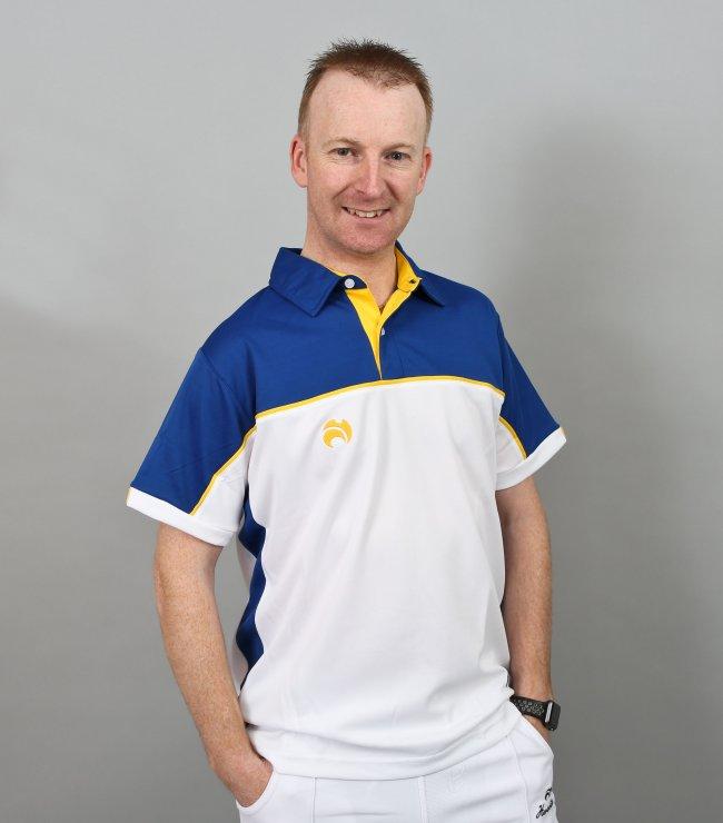 Henselite Lawn Bowling Madrid Polo White-Blue-Yellow.