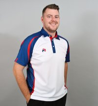 Henselite lawn Bowling Signature Polo White-Blue-Red