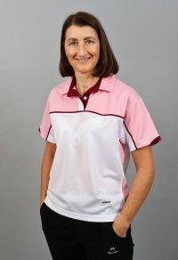 Henselite Lawn Bowling Madrid Polo - White, pink, burgundy