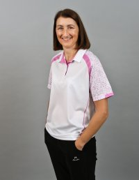 Henselite Lawn Bowling Sublimated Polo - white, lilac